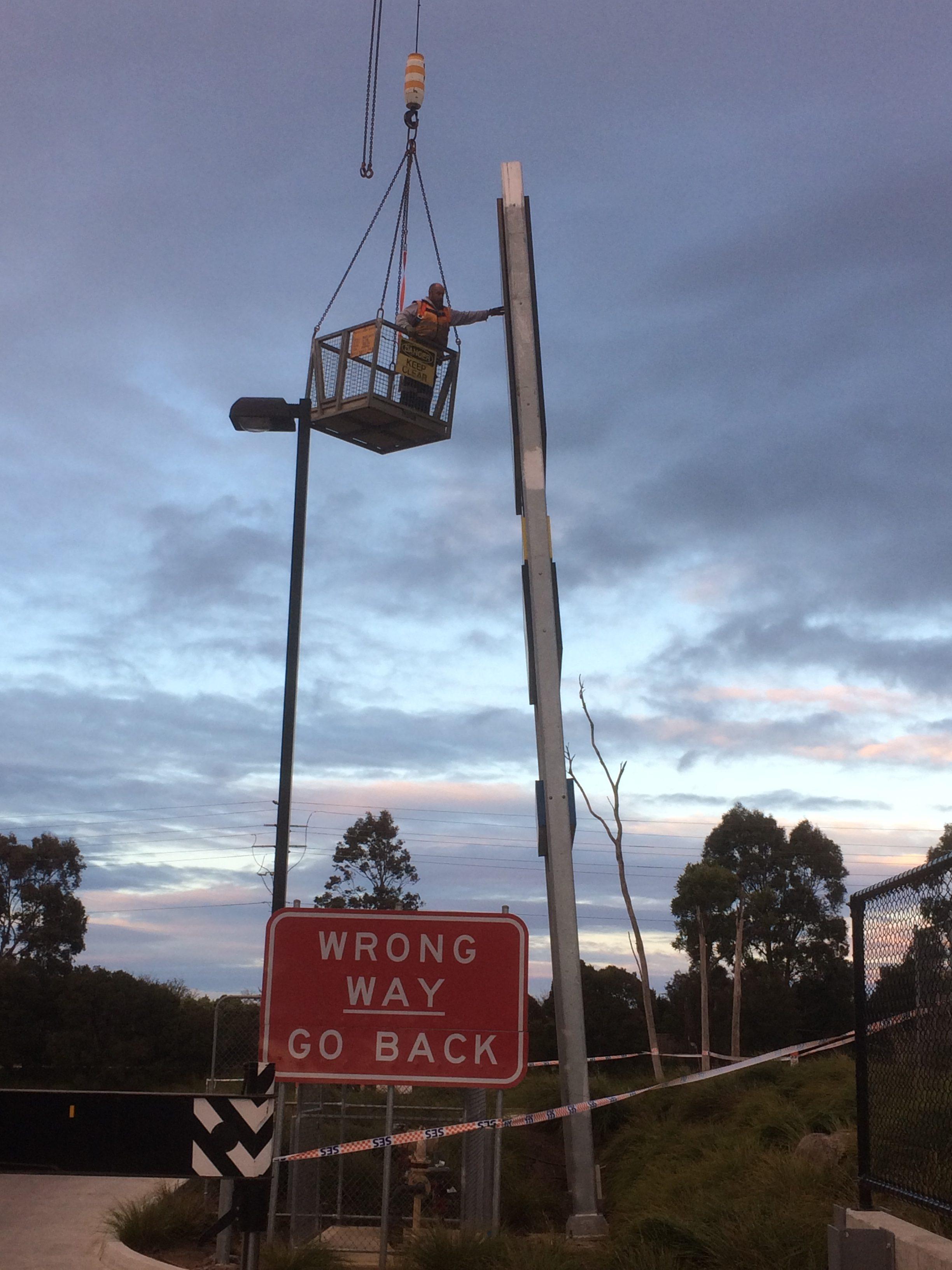 electrical contractors Berwick using crane